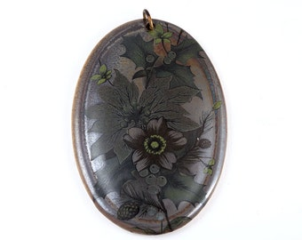 VINTAGE CERAMIC PENDANT Huge Charm for Necklace Metallic Flower Floral Dark Gothic Lolita Jewelry