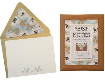 Handmade Letterpress Note Card Set with Fabric-Lined Envelopes (Set of 6) by March Paper & Design - Canvas Envelope Pouch, Thermography
