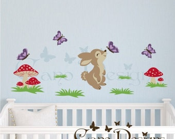 Bunny Reusable Fabric  decal set, Removable, reusable and repositionable fabric decal