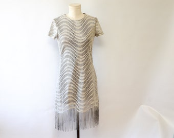 Vintage 90's Metallic Silver Knit Shift Dress with Fringe Detail, Built In Lining  // 90's Mini Dress