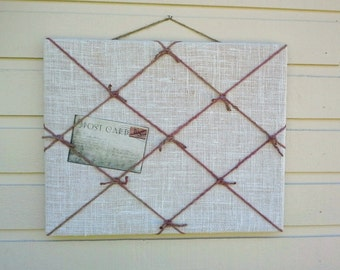 Burlap and Twine PinBoard with nautical knots, useful for memos,dorm or college decor, great for an outdoor wedding display