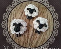 Handmade Primitive Sheeps Buttons - set of 3 pcs.