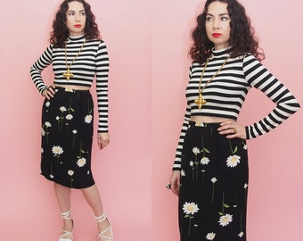 Vintage 90s Daisy Print Skirt // High Waist Skirt // Pencil Skirt // Midi Skirt // Airy Skirt // Grunge // Festival Extra Large