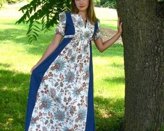Vintage 1970s Denim Floor Length Floral MAXI Prom DRESS Evening Wear Flowing Cotton