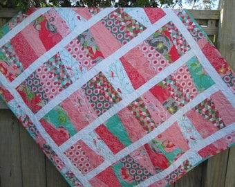 Baby Girl Quilt, Girl Nursery, Modern Baby Quilt, SUMMER SALE