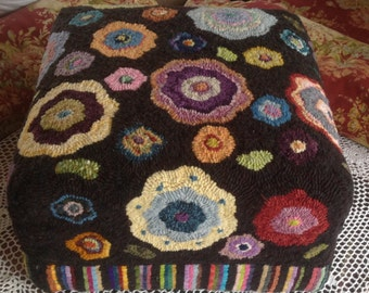 Flowers SQUARE Footstool Pattern