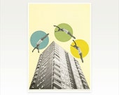 Surreal Mid Century Style Art Print, mad Men, Architecture Print - High Flyers