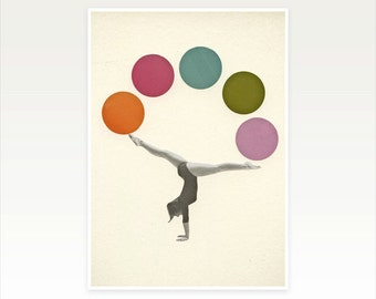 Retro Wall Art, Pop Art, Circus Print, Female Figure - Gymnastics