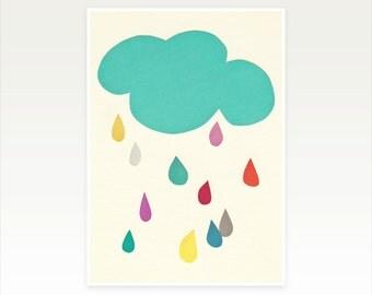 Cloud Art, Colorful Nursery Art, Raindrop Print, Cloud Wall Decor - Sunshine and Showers