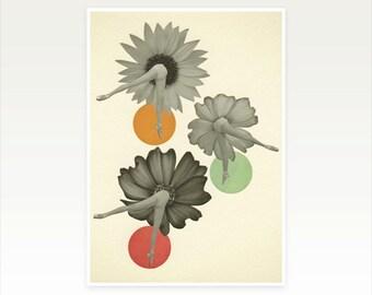 Dance Art Print, Ballet Print, Mid Century, Surreal Wall Art, Pop Art Poster, Collage - Flower Girls