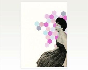 Geometric Art, Female Portrait, Surreal Collage Print, Rose Pink and Duck Egg Blue - Wallflower
