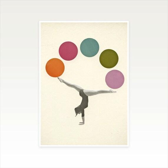 Retro Wall Art, Pop Art, Circus Print, Female Figure - Gymnastics