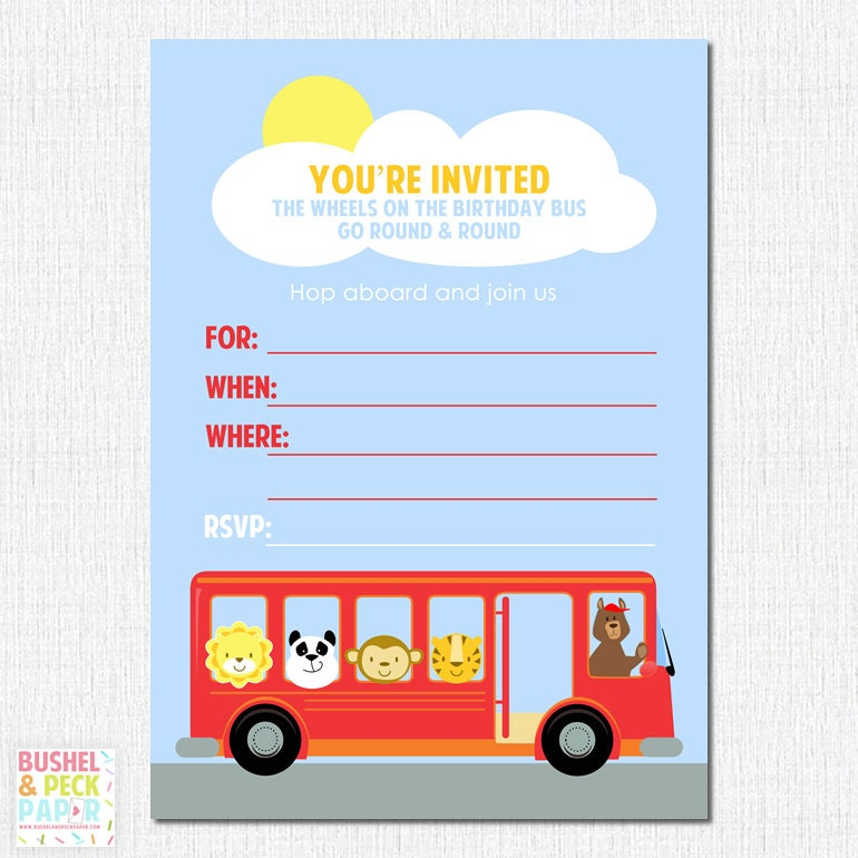 Wheels On The Bus Party Invites By BushelandPeckPaper On Etsy