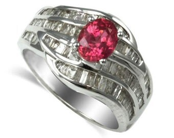 14K White Gold Ring With Pink Sapphire and Diamond