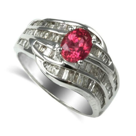 14k white gold ring with pink sapphire and