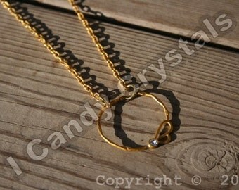 ON SALE Gold Cirlcle Sparkling Bee Necklace - silver available
