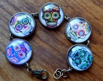 Necklace Sugar Skull Day of the Dead Día de Muertos necklace and bracelet set Coupon Code NEWYEARSALE2017FEB