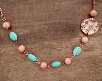 Asymetrical Blue Turquoise and Copper Necklace Turquoise Necklace - Copper Necklace - Collier Cuivre et Turquoise