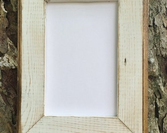 11x14 Picture Frame, White Rustic Weathered With Routed Edges, Rustic Wedding