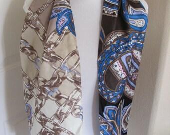 "Scarf Designer Beautiful Ivory Colorful Soft Silk Scarf - 11"" x 52"" Long"