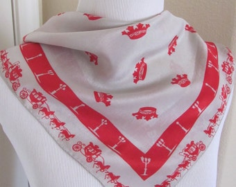 """Vintage Early ECHO Gray Red Silk Pocket Scarf - 18"""" x 18"""" Square"""