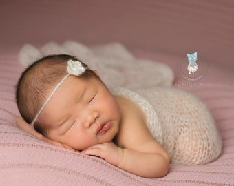 Ivory Mohair Wrap and Headband Set, Mohair Photography Prop, Newborn Photography Prop, Baby Girl Photography Prop