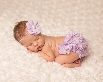 Lavender Bloomer and headband set, lace bloomers, baby bloomers, newborn bloomers, photography prop, baby girl prop