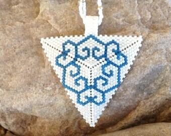 White and Blue 6 Hearts Triangle Choker