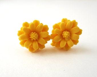 Mustard Yellow Flower Studs Dainty Post Earrings Yellow Flower Earrings Floral Jewelry