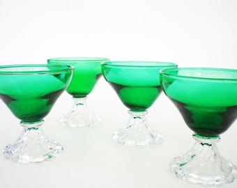 4 Vintage Coupe Champagne Glasses / Tall Footed Sherbets  Green Holiday Stemware Anchor Hocking Burple Footed Dessert Bowls