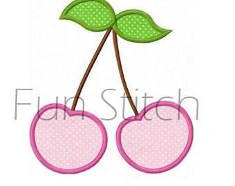 Cherry applique cherries machine embroidery design instant download