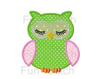 Sleeping owl applique machine embroidery design