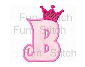 Set of 26 princess crown applique letters font and numbers machine embroidery design