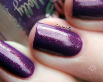 "Nail polish - ""Veiled Flame""  purple creme with copper shimmer"