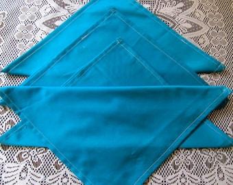 NAPL1342E Dark Turquoise Napkins, Set of 4, Polished Cotton, Up Cycled Fabric