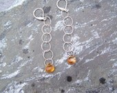 Long, Fun, Citrine and Sterling Silver Earrings