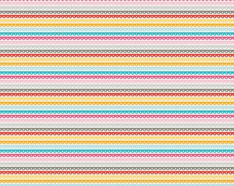 Pink Aqua Yellow and Grey Scallop Stripe Flannel Fabric, Crazy Girl by Designs by Dani For Riley Blake, Stripe in Yellow Flannel, 1 Yard.