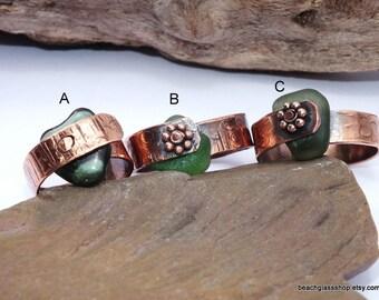 Copper Jewelry - Sea Glass Ring - Copper Ring - Lake Erie Beach Glass  Jewelry - Organic Jewelry