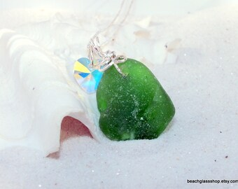 Green Sea Glass Necklace - Sterling Necklace - Lake Erie Beach Glass Jewelry - Bonfire Jewelry