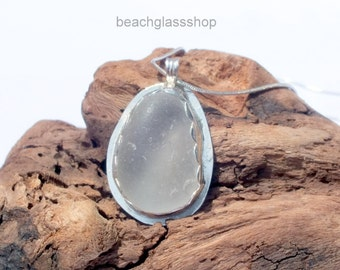 Lake Erie Sea Glass Necklace - Sterling Sea Glass Bezeled Necklace - Sea Glass Jewelry - Lake Erie Beach Glass - Mermaid Tears Necklace