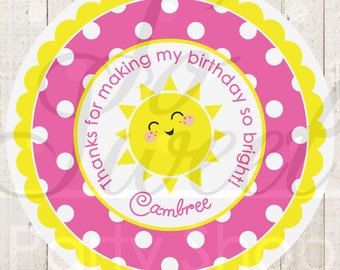 Lemonade and Sunshine Favor Stickers - 1st Birthday Party Decorations - You Are My Sunshine - Pink Lemonade Party - Set of 24