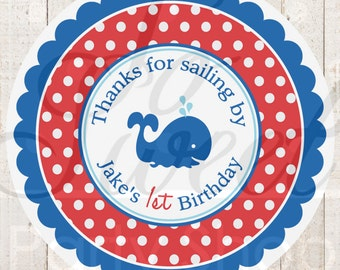 Nautical 1st Birthday Stickers - Boys 1st Birthday Favor Label Stickers - 1st Birthday Party Decorations - Whales and Anchors - Set of 24