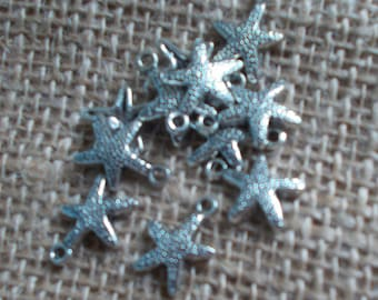 Set of Ten Starfish Tibet Silver Charms