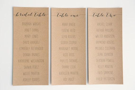 Seating Plan Arrangement | Alternative guest seating plan | Calligraphy