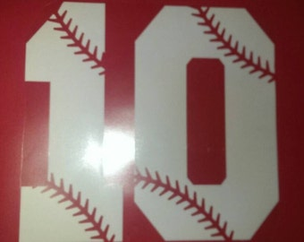 Number with Baseball Stitching- IRON-ON, Iron-on Baseball numbers, baseball numbers for shirts