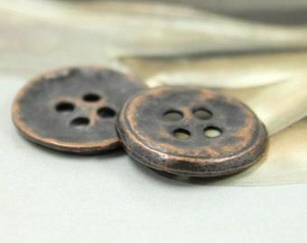 Metal Buttons - Rustic Antique Copper Metal Hole Buttons - 0.87 inch - 10 pcs
