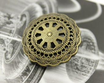 Metal Buttons - Medieval Filigree Metal Buttons , Antiqued Brass Color , Shank , 1.26 inch , 6 pcs
