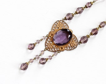 Sale- Vintage Art Deco Czech Simulated Amethyst Pendant Necklace - 1930s Brass Purple Glass Lavalier Filigree Czechoslovakia Costume Jewelry