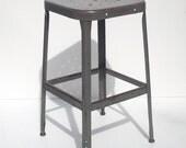 Vintage Industrial Painted Metal Stool / LYON Stool / Shop Stool / Artist Stool / Photographers Stool / Studio Furniture / Distressed Worn
