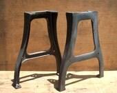 Vintage Industrial Metal Factory Table Legs / PAIR / Set of 2 / Raw Steel / Iron / Factory Machine Tool Legs